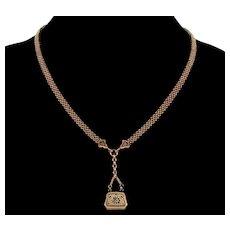 Antique Victorian 10K Gold Enamel Purse Locket Mesh Chain Necklace C.1870