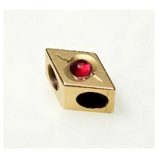 Antique Victorian 10K Gold Garnet Rhombus Slide Charm For Bracelet 002991