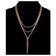 Antique Victorian 10K Gold Fancy Guard Chain Slider Necklace C.1890