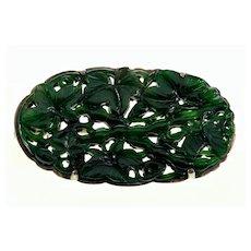 Antique Art Deco Jadeite Jade 10K Gold Brooch Pin C.1920 Signed