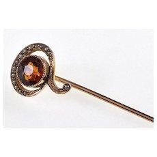 Antique Art Nouveau 10K Gold Pearl Citrine Question Mark Stick Pin Tie Pin C.1900
