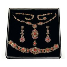 Antique Austro-Hungarian Coral Seed Pearl SIlver Set Necklace Earrings Bracelet C.1900