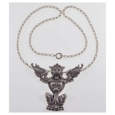 Vtg Gothic Revival Gargoyle Sterling Pendant Necklace C.1930