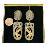 Georgian Antique French Silver & Gold Foil Overlay Carved Cherub & Flaming Heart Dangle Earrings