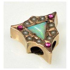 Antique Victorian 10K Gold Opal Garnet Pearl Slide Charm For Bracelet 002995