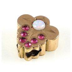 Antique Victorian 10K Gold Opal Garnet Slide Charm For Bracelet 002996