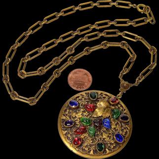 Antique Victorian Czech Fruit Salad Glass Filigree Brass Necklace C.1920