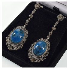 Art Deco Italian Filigree Sterling Sodalite Dangle Earrings C.1920