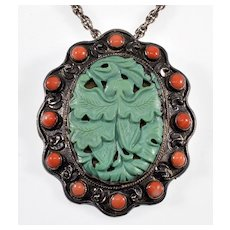 Antique Chinese Qing Dynasty Carved Turquoise Coral Sterling Pendant Brooch C. Late 1800's