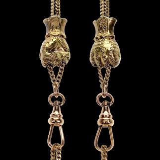Antique Victorian 10K Gold Hand Slide Guard Chain Necklace C.1890