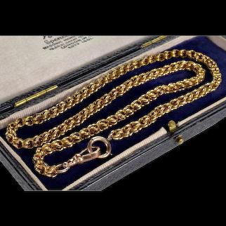 Antique Victorian 10K Gold Fancy Link Chain Necklace C.1890