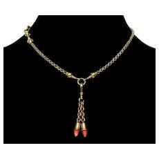 Antique Georgian 14K 10K Gold Momo Coral Chain Necklace C.1820