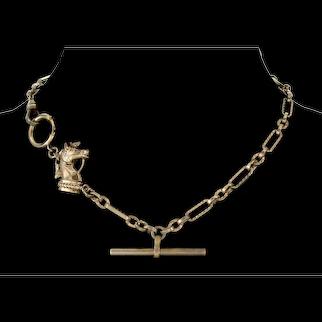 Antique Victorian Horse Head Fancy Chain GF Necklace C.1890 Large Bolt Clasp