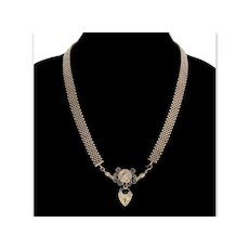Antique Victorian Padlock Bird Mesh Chain Sterling Necklace C. 1890