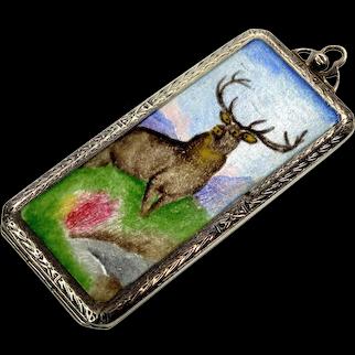 Antique Edwardian Silver Elk Enamel Locket Pendant Hello Bill Rolling Paper Box C.1900