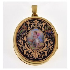 Antique Victorian Enamel Cherub Angel Putty 18K Gold Locket Pendant