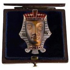 Antique Art Nouveau Egyptian Revival Pharaoh Brooch 14K Gold Enamel Diamond Ruby Tiger's Eye C.1900