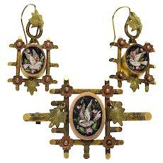Antique Victorian Italian Micro Mosaic GF Earrings Brooch Locket Set Original Box C. 1860
