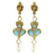 14K Plique-A-Jour French Enamel Art Nouveau Revival Diamond Dangle Earrings