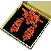 Antique Victorian Carved Coral Leaves & FLowers Earrings & Brooch