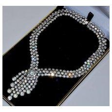 Vintage 50's Kramer Of New York Sparkling Crystal Fringe Necklace