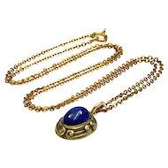Antique Art Nouveau 14K Lapis Lazuli Fob Charm Pendant