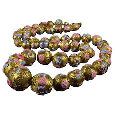 Victorian Murano Venetian Wedding Cake Gold Foil Glass Bead Necklace