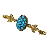 Antique Victorian 15K Gold Natural Turquoise Seed Pearl Brooch Pin In Original Box