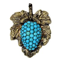 Antique Victorian 14K Natural Turquoise Berry Fruit Pin Pendant