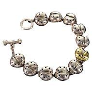 Vintage Designer Saint 18K Sterling Lady Bug Link Bracelet
