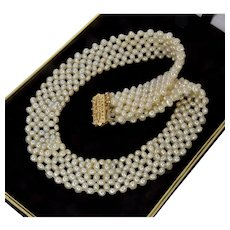 Art Deco 14K Gold Fine Fresh Water Pearl Woven Collar Necklace