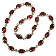 Vintage Art Deco Georgian Revival Czech Foil Garnet Glass Riviere Necklace