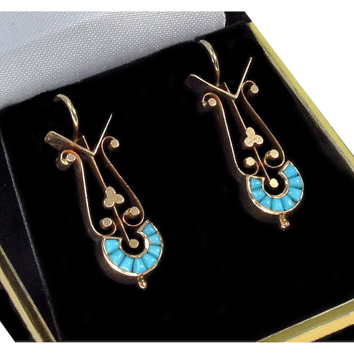 157aa4999cfad Antique Victorian 14K Filigree Rose Gold Natural Turquoise Earrings    Phoenix Jewelry