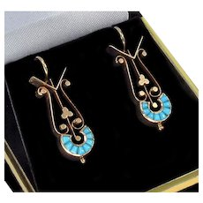 Antique Victorian 14K Filigree Rose Gold Natural Turquoise Earrings