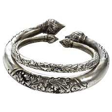 Antique Pair Of Indo-China  Sterling Lotus Torque Cuff Bracelets