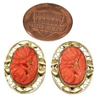 Antique Victorian Carved Salmon Coral Filigree Gold Filled Earrings