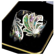 Mid-century Signed A L.C. Mexican Sterling Abalone Clamper Bracelet