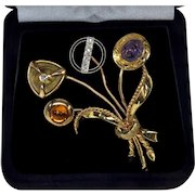 Antique Victorian 14K Stick Pin Bouquet Brooch Diamonds Amethyst Topaz