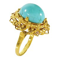 Antique Victorian Filigree 14K Gold Natural Turquoise Ring Size 7