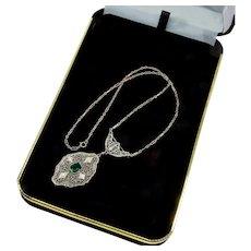 Art Deco 14k White Gold Diamonds Emerald Lavalier Necklace
