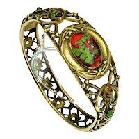 Antique Art Nouveau J.H. Peckham J.H.P Venetian Art Glass Brass Bracelet