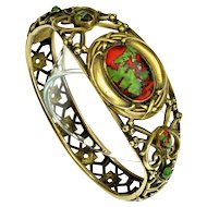Antique Art Nouveau J.H. Peckham J.H.P Venetian Art Glass Brass Bracelet