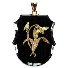 Antique Victorian 14K Rose Green Gold Onyx Locket