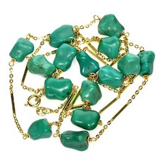Vintage 14K Natural Natural Turquoise Italian Stationary Necklace