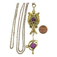 Art Nouveau George N. Steere Egyptian Revival Fob Pendant Necklace