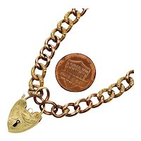 Antique Victorian 9K Gold Curb Chain Heart Padlock Bracelet