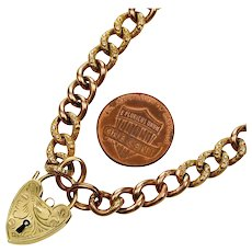 Antique Victorian 9K Gold Curb Chain Heart Padlock Bracelet
