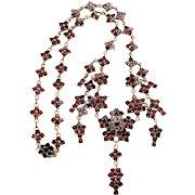 Antique Victorian Bohemian Garnet Starburst Necklace