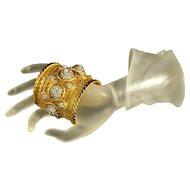 Vintage 80's Deanna Hamro Chic Swarovski Crystals Filigree Cuff Bracelet