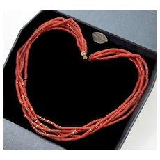 Vintage Fine Red Coral 9Kt Gold Multi Strand Necklace